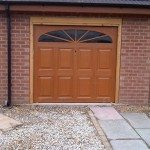 Brown garage doors with window