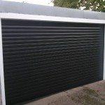 wide black garage doors