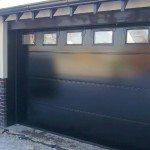 black garage doors with windows