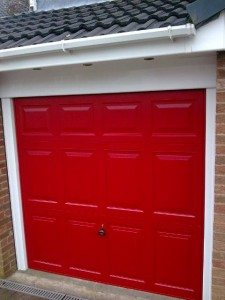 bright red garage doors